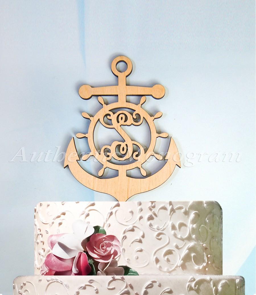 Hochzeit - Anchor Cake Topper, Birthday, Inital Wooden Anchor, capains wheel, Nautical, Natural Wood