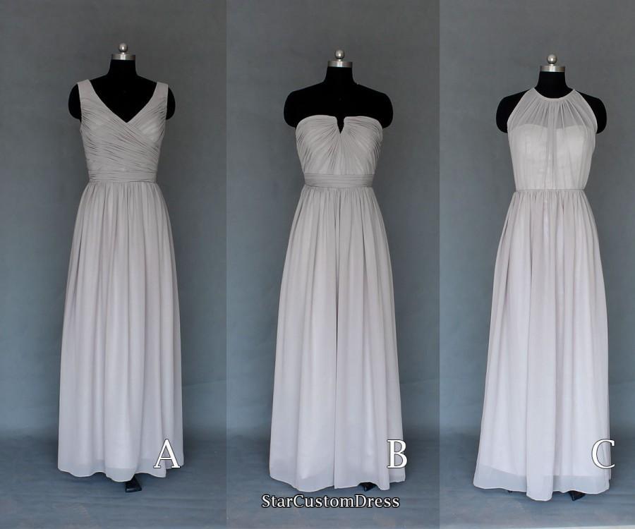 Long Silver Grey Bridesmaid Dress Long Halter Bridesmaid Dress Long Prom  Dress 38f2fa21b