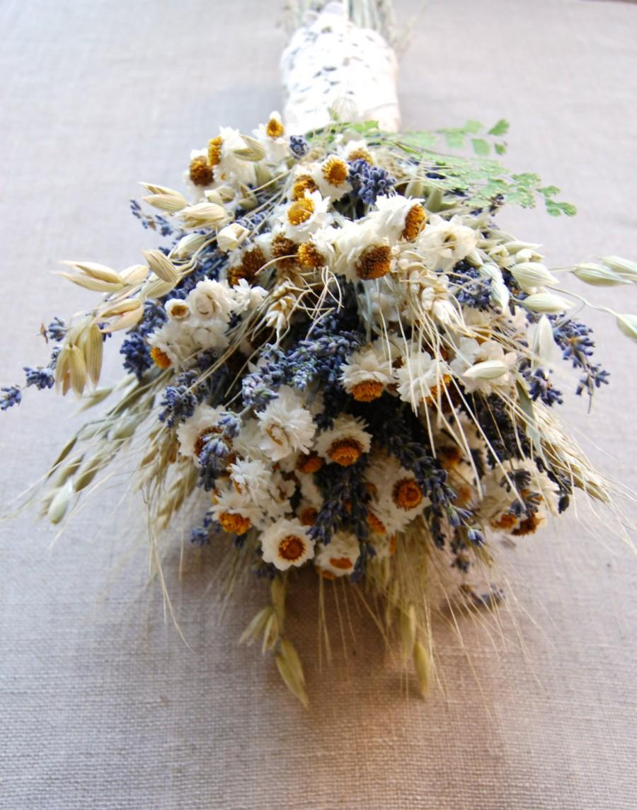 Mariage - Custom Brides or Bridesmaid Bouquet Daisies and Dried Blue Lavender, Fern, Oats, Wheat wrapped with Daisy Lace Applique' Hemp Twine  Ribbon