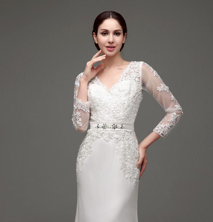 Boda - Long Sleeve Sheath Lace Appliqued Bridal Dress