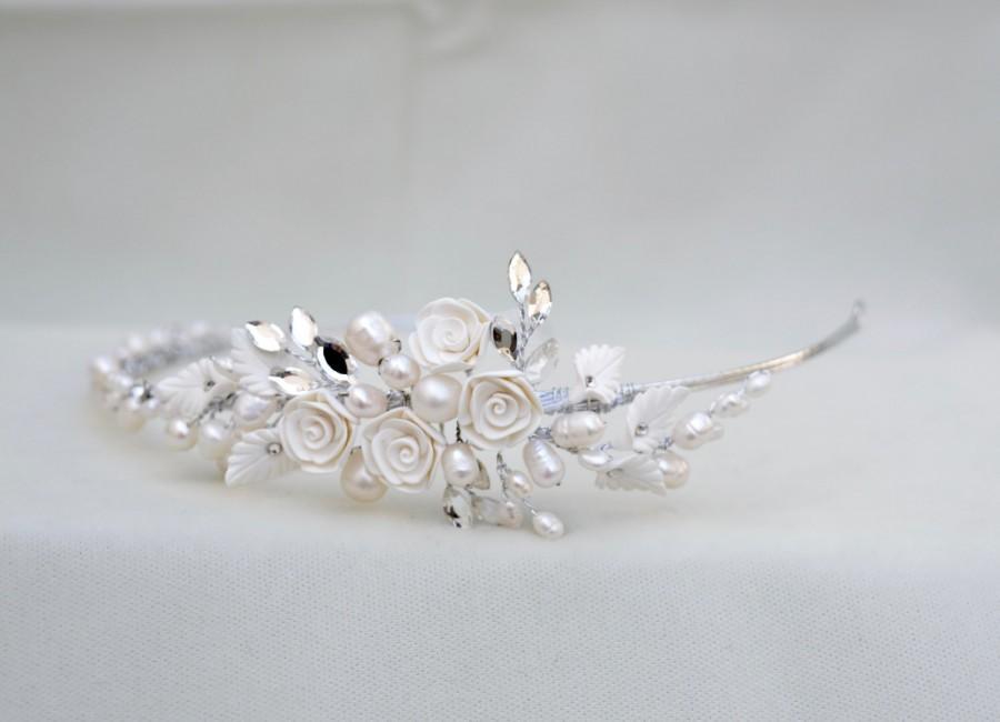 Mariage - Bridal Pearl , Flower & Rhinestone Handmade Headband / Wedding Head Piece / Bridal Tiara