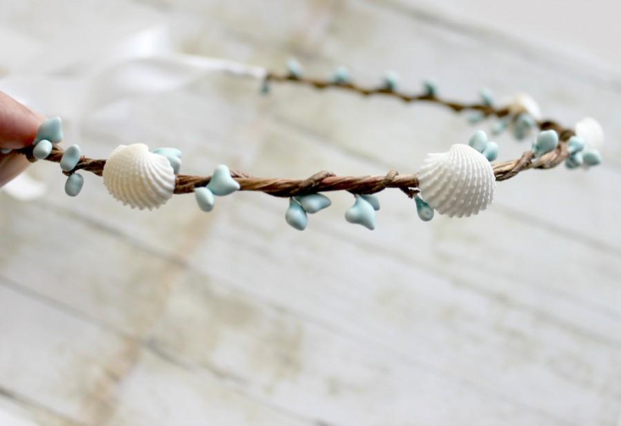 Mariage - Beach Wedding Hair Accessory, Turquoise and Seashells headpiece, Destination Wedding, Bohemian, Headband, Rustic,  Spring, Summer
