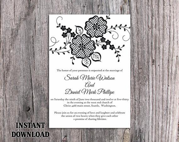 DIY Lace Wedding Invitation Template Editable Word File Download – Wedding Invitations Template Word