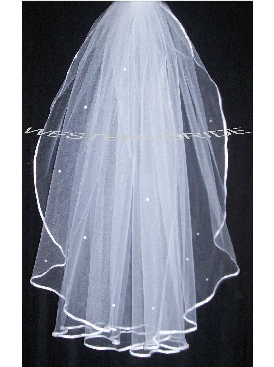 زفاف - Swarovski Rhinestone  ACCENT Elegant Wedding Bridal veil. White or Ivory , your choice. elbow lenght with silver comb ready to wear