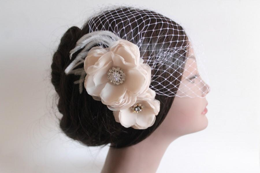 زفاف - Birdcage Bandeau Veil, Blush Flower Birdcage Veil and Fascinator, Head Piece, Wedding Accessories, Ostrich Feathers and Rhinestone Pendants