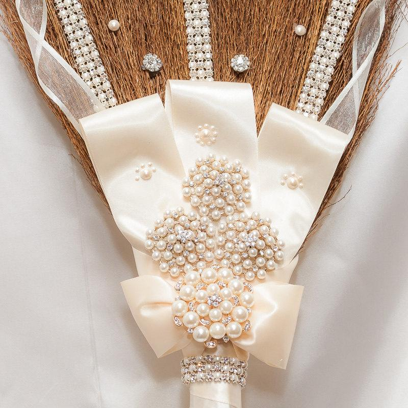 Mariage - Blinged out Rhinestone Wedding Jumping Broom custom Made This one is in Ivory pearls and Rhinestones