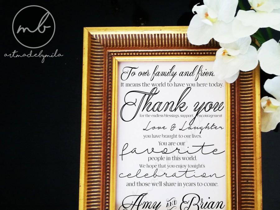 Wedding Reception Thank You Sign Guest Card To Our Family And Friends Signage Decor