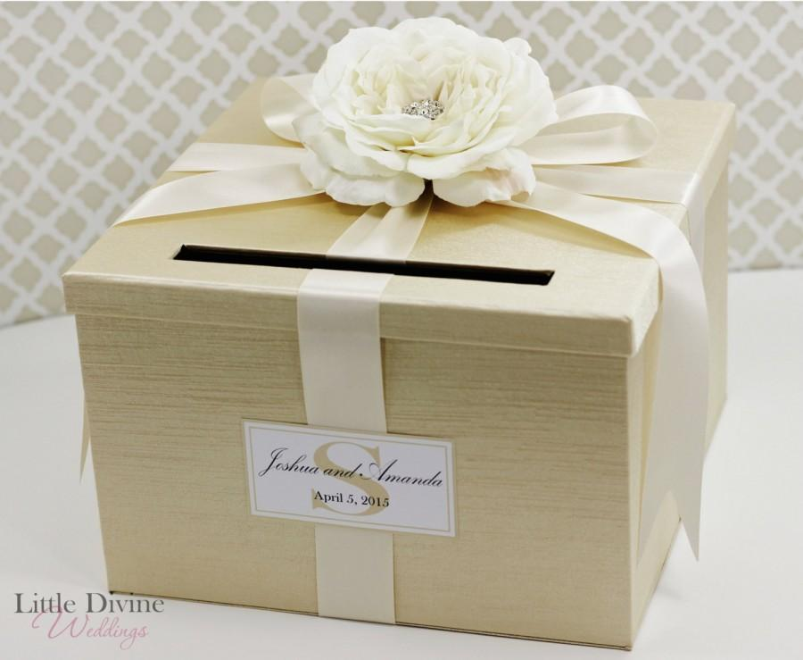 Wedding - Wedding Card Box Champagne Gold Ivory Money Holder Customizable