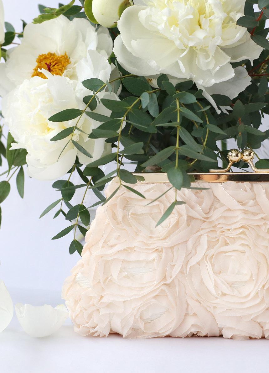 زفاف - Blush Chiffon Rose Floral Lace Clutch for Bride, Bridesmaid, Mothers 8-inch