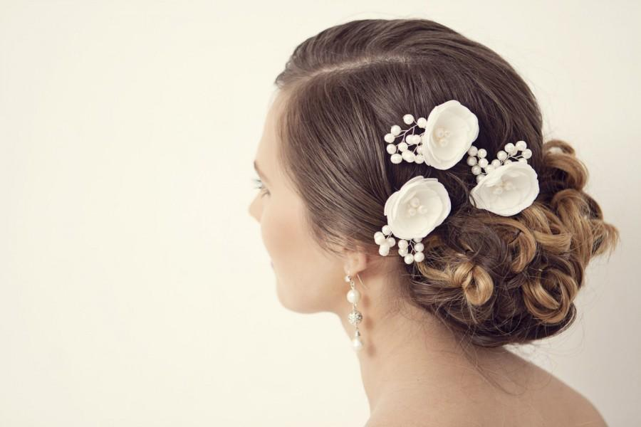 Wedding - Wedding Hair Accessory, Ivory Wedding Hair Flowers, Wedding Hair Piece, Bridal Hair Accessories, Bridesmaids Hair