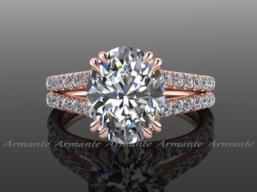 Hochzeit - Forever Brilliant Moissanite Engagement Ring, 18k Rose Gold Oval Engagement Ring, Diamond Engagement Ring, Wedding Ring