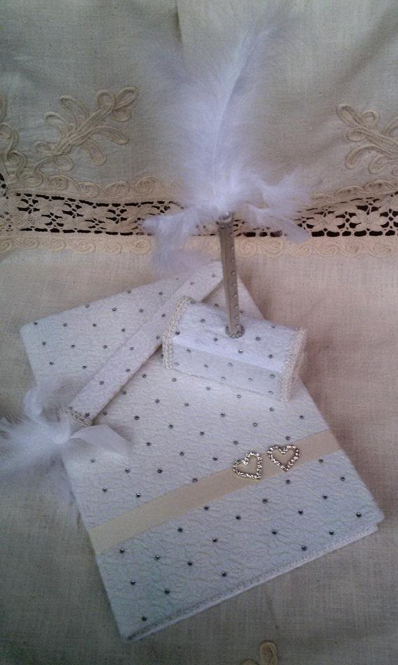 Свадьба - Wedding guest book, Hand made wedding guest book, İvory lace pearl wedding, Bridal book, Guest book and pen set, Guest book and bookmarks