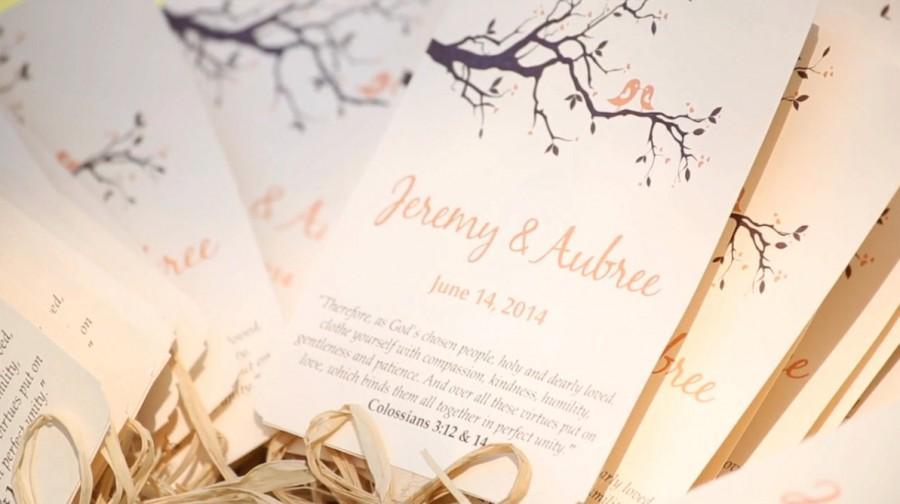 Hochzeit - DEPOSIT:  Wedding Fan Program Love Birds Branch Wedding Favor - Peach Chocolate Brown Outdoor Ceremony Program - Rustic Wedding Paddle Fan