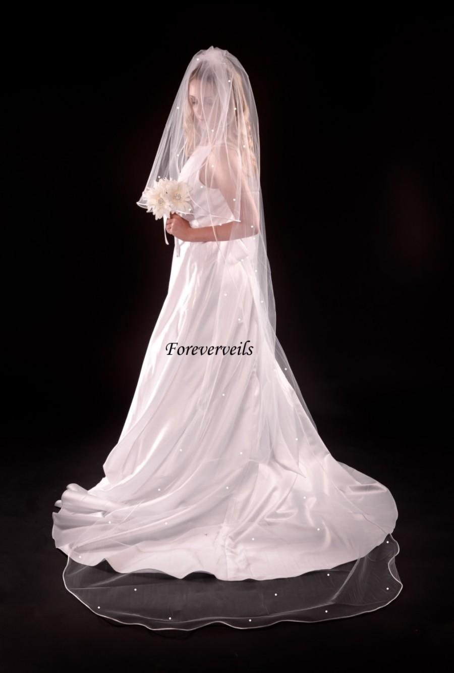 زفاف - Rhinestone Cathedral wedding veil, 2 tier flowing long bridal veil - white, ivory, diamond white, champagne or black satin edge