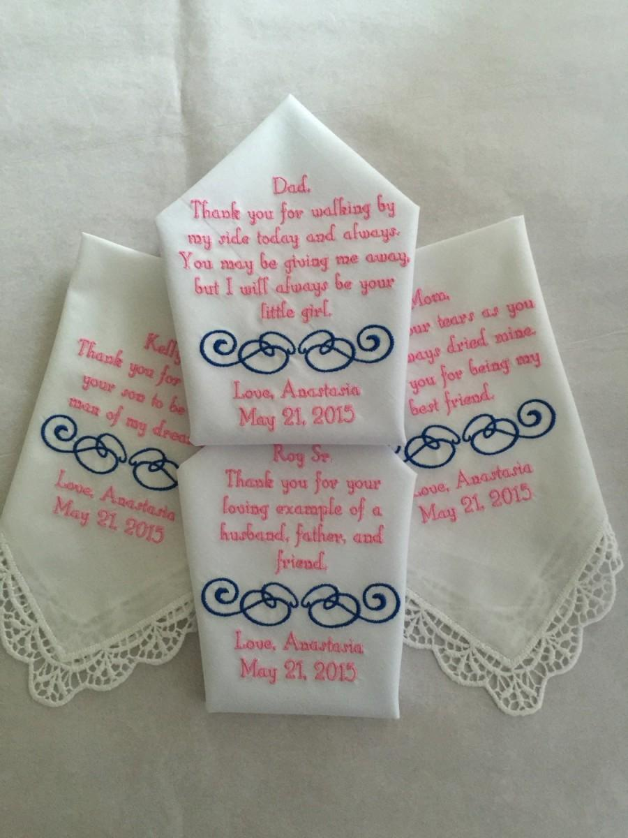 Hochzeit - personalized handkerchief hankie gift from bride Set of four 4 Mother of the groom/bride and father of the groom/bride  custom made