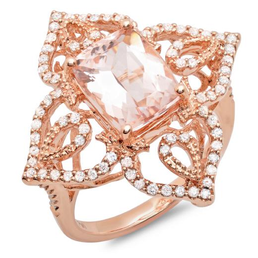 Boda - Morganite Rings by Raven Fine Jewlers - 14kt Rose Gold Morganite And Diamond Ring