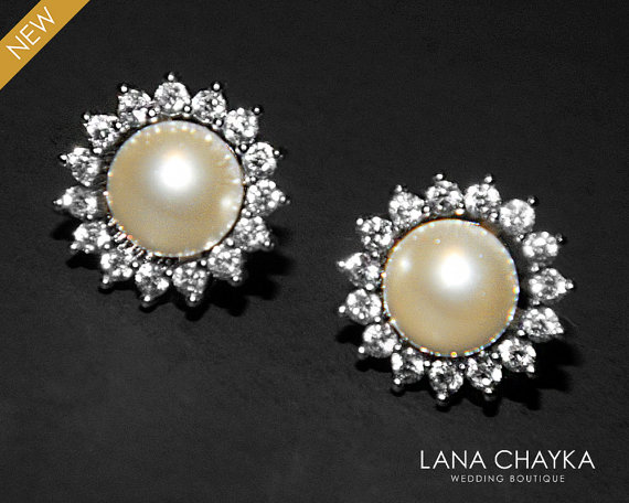 Pearl Stud Earrings Swarovski Ivory Cz Bridal Small Wedding Flower Studs
