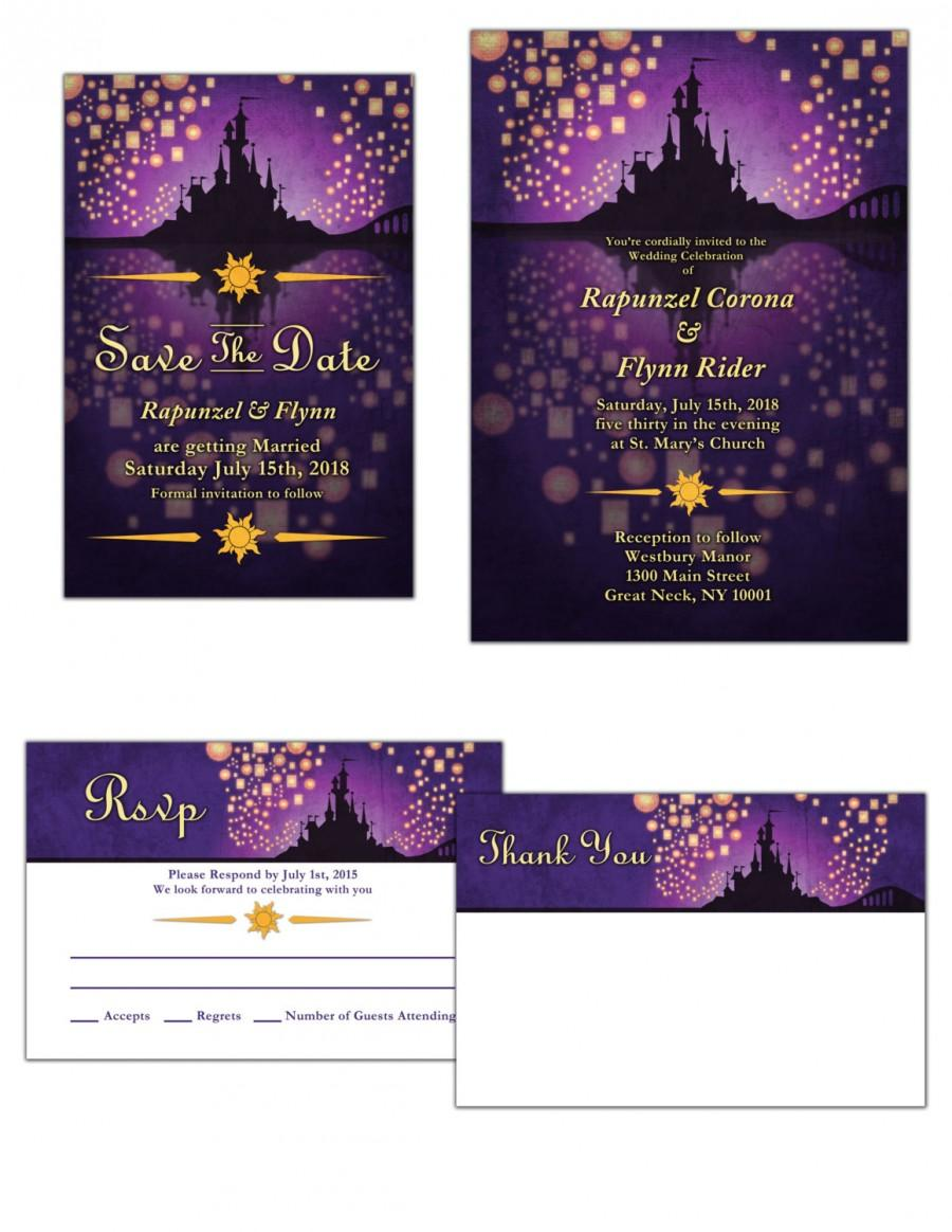 Tangled Inspired Wedding Invitation Save The Date Or RSVP 2487344