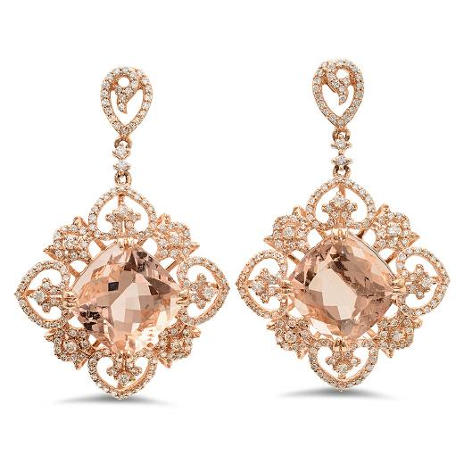 Wedding - Morganite & Diamond Cocktail Earrings by Raven Fine Jewelers, Michael Raven