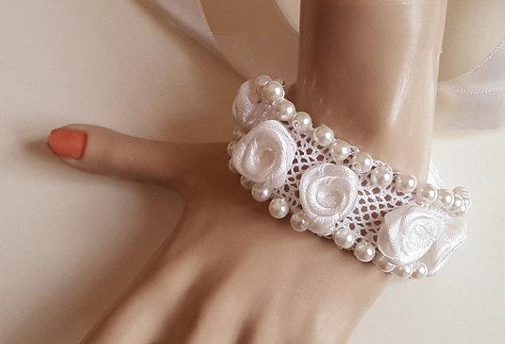 Ivory Pearl Glass Bracelet Lace Bracelet Rose Bracelet Bridal