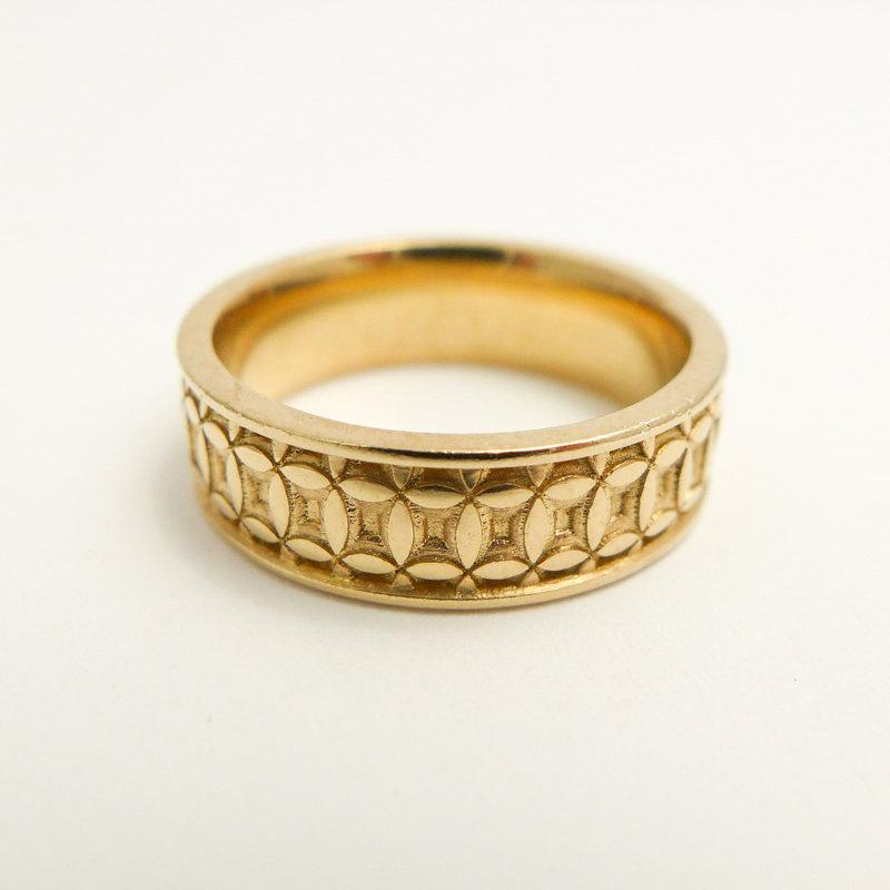 Wide Wedding Band, Patterned Wedding Band, 14 Karat Solid Gold ...