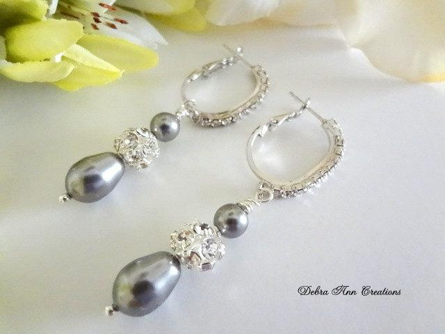 Swarovski Grey Pearl Earrings Wedding Bridal Bridesmaid Jewelry Gray Mother Of The Bride Groom Crystal