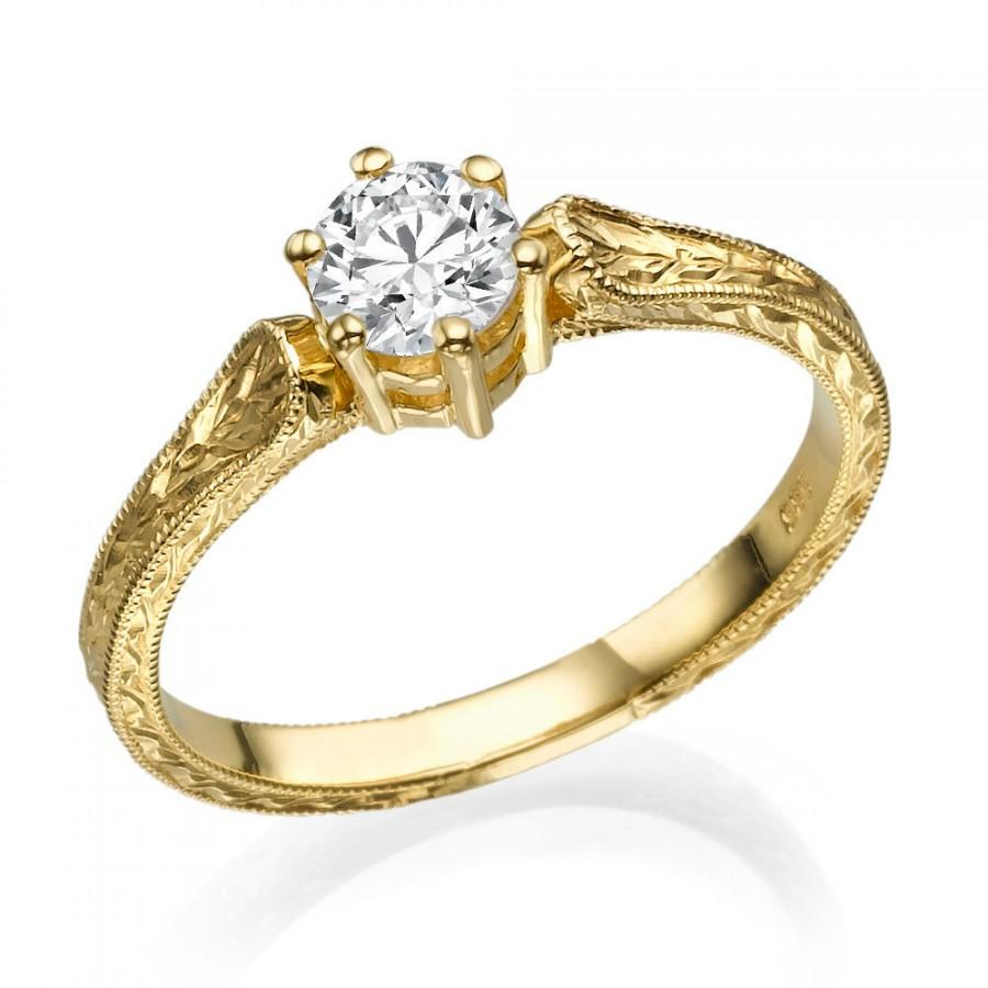 Filigree Engagement Ring 14K Gold Ring 1 CT Hand Engraved Ring Art Deco Ri