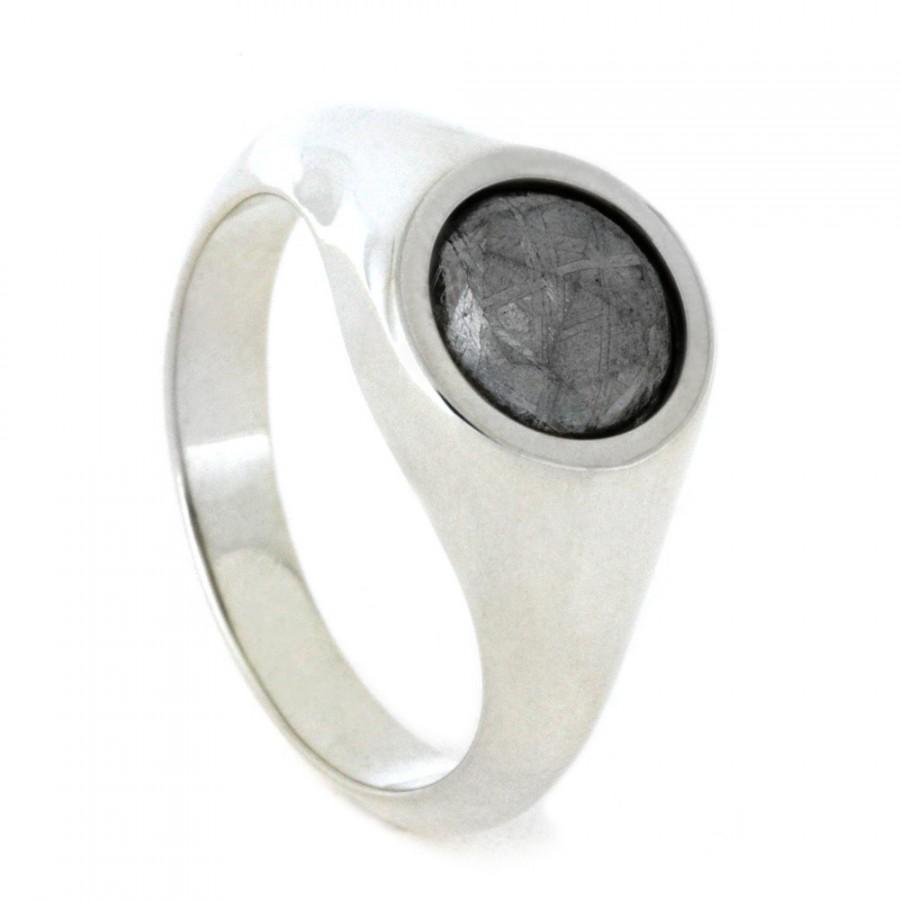 زفاف - Sterling Silver Ring With Gibeon Meteorite, Unique Signet Ring, Great Alternative Engagement Ring