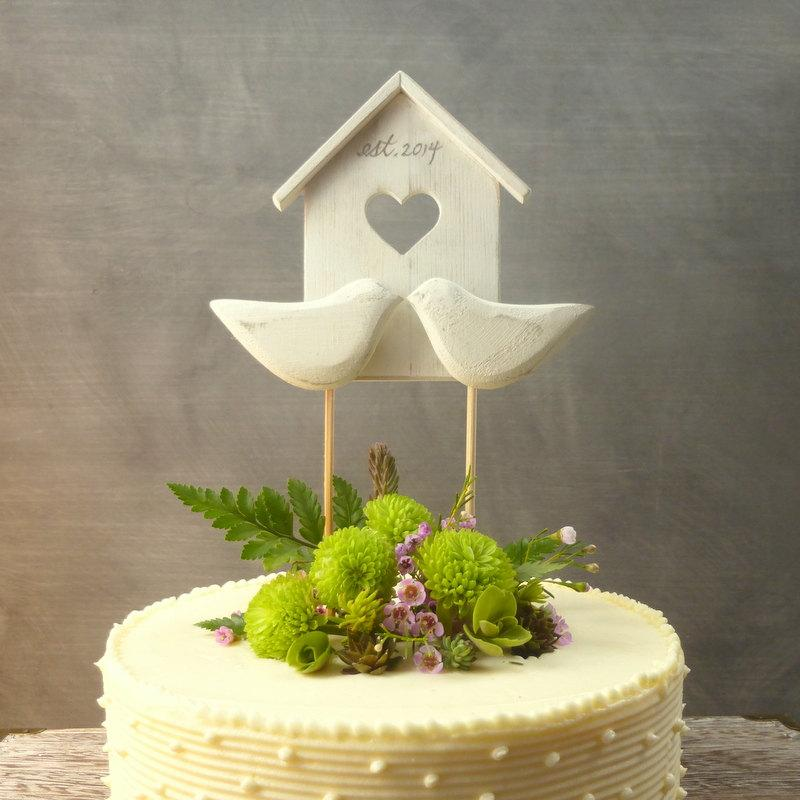 Wood Birdhouse Topper Wooden Wedding Decor White Cake Topper Bird Wedd...