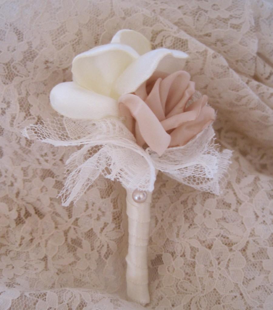Mariage - Boutonniere Vintage Inspired Fabric Flower Champagne and Ivory Groom Groomsmen Usher Father of the Bride Prom With Rhinestone Accent..Custom