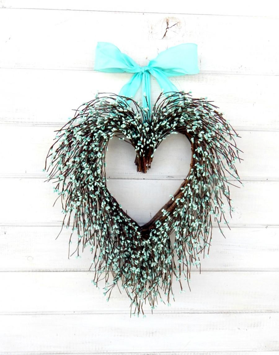 Свадьба - Wedding Decor-Wedding Wreath-Heart Wreath-Teal Wedding-Spring  Wreath-SAY I LOVE YOU-Gift for Mom-Wedding Gift-Heart Wreath-Gift for Mom