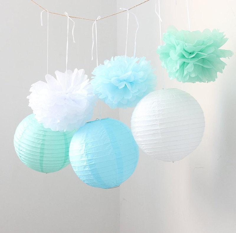 Свадьба - Set of 9 Mixed Mint Green Blue White Tissue Paper Pom Poms and Paper Lantern Wedding Birthday Baby Shower Nursery Hanging Decoration