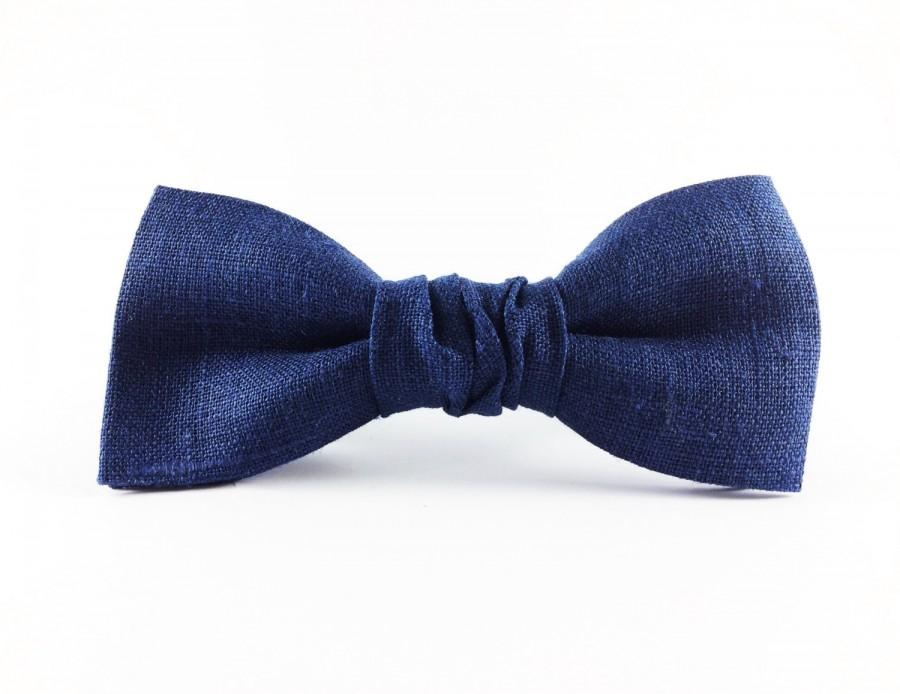 Hochzeit - Mens Gift Blue Bow Tie Fathers Mens Accessories Gifts For Him Linen Bowtie Men's Clothing Suits Weddings