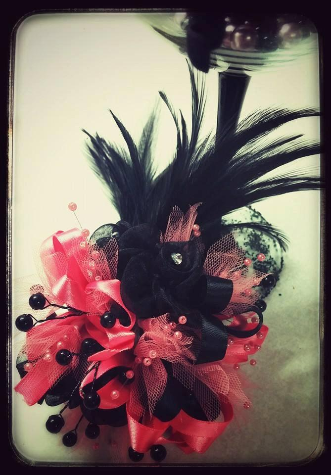 Wedding - Coral and Black silk Prom corsage,  Coral and black feathers silk Prom corsage.