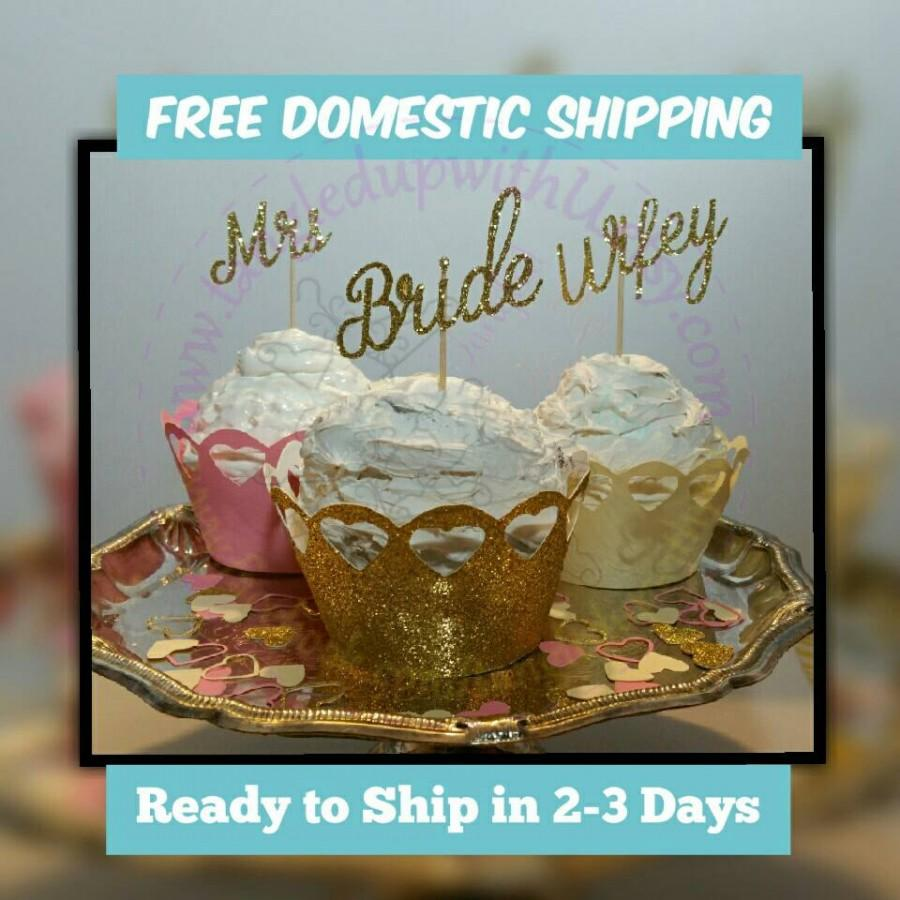 Wedding - 12 glitter mix and match Bride, Wifey and or Mrs. Cupcake toppers! Bridal shower cupcake toppers, Cupcake toppers, engagement party, cupcake