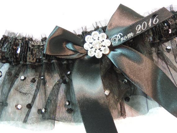 Hochzeit - Black Sequin and Rhinestone Prom Garter 2016, Sparkle Illusion Black Prom Garter, Garters, Prom Garters
