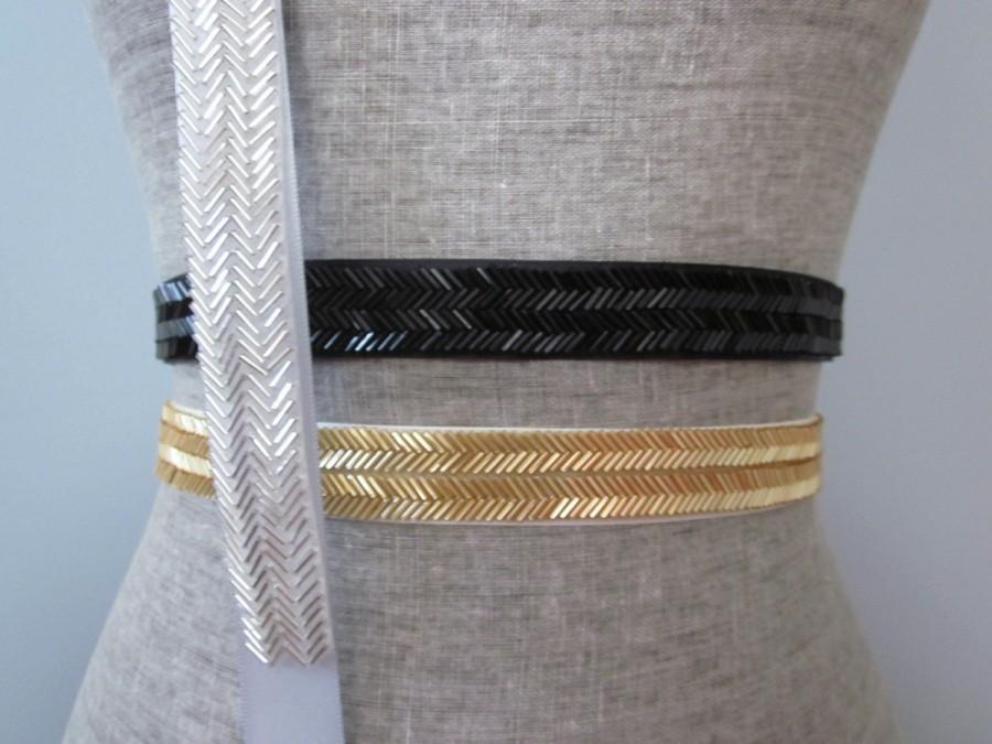 زفاف - Chevron Beaded Sash / Belt in Gold, Silver, Black, Bronze, Gunmetal