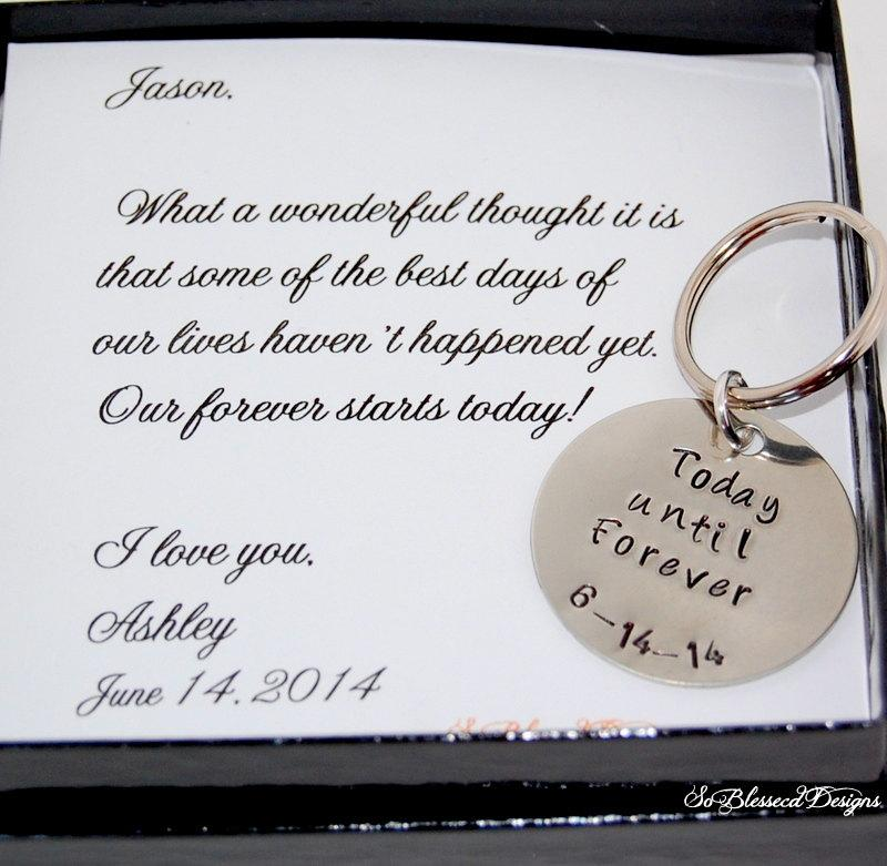Groom gift from bride key chain bride to groom gift on for Gift from bride to groom on wedding day