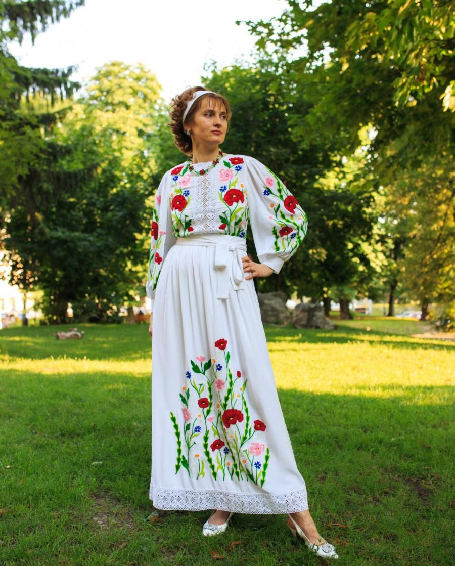 Ukrainian Traditional Boho Lacy Wedding Prom Engagement Dress Fl Design Red Poppy Flowers Chamomile Cornflowers Hand Embroidered