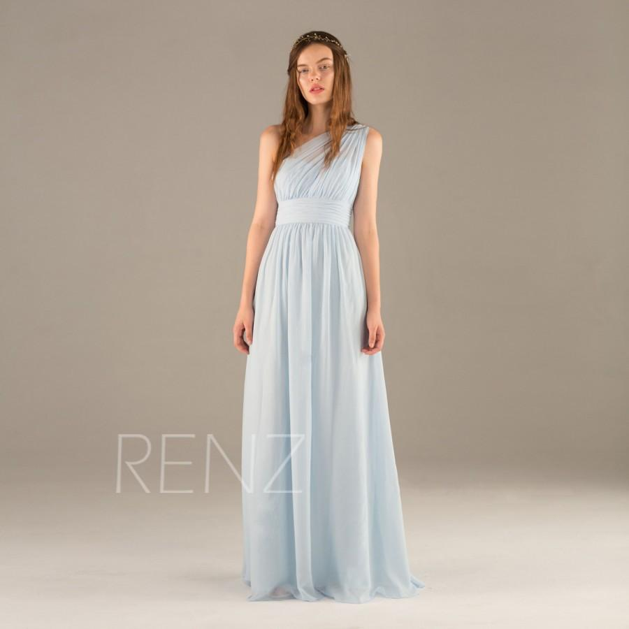 2016 Light Blue Bridesmaid Dress Long Chiffon Maxi Ice One Shoulder Wedding Asymmetric Backless Party T112 Renz