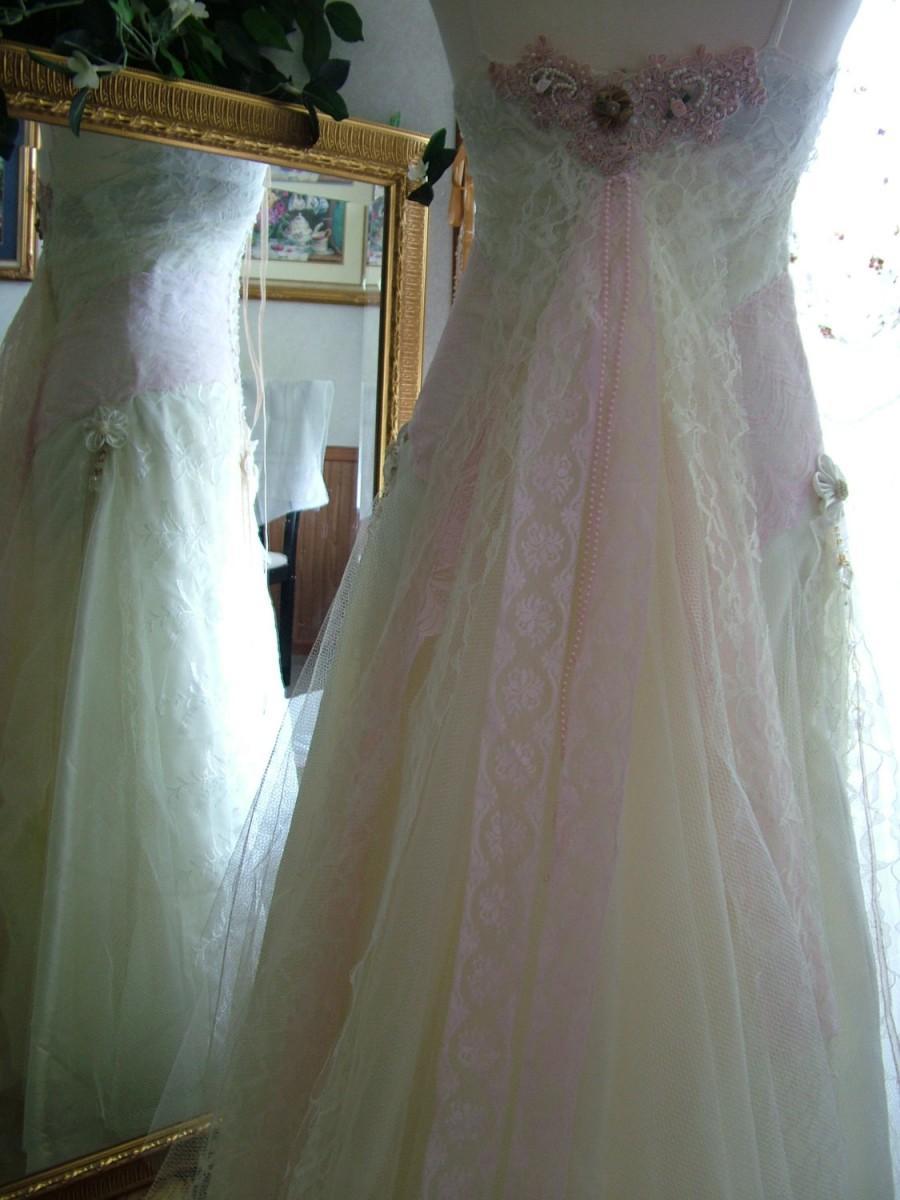 Romantic Victorian Edwardian Renaissance Regency Repurposed Tattered Funky Shabby Chic Lace Frills Wedding Dress