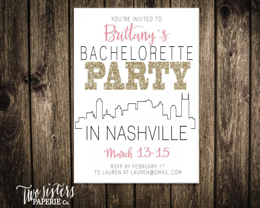 Hochzeit - Bachelorette Party Invitation and Itinerary - NASHVILLE Bachelorette Party - Printable Invitation