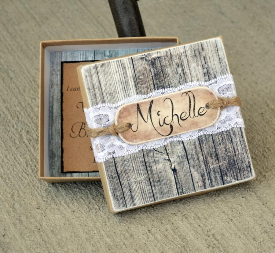 Hochzeit - Bridesmaid Wooden Fence Boxed Invite, Lace & Twine Box with Wood Monogram Tag Will You be My Bridesmaid Invites Cards Rustic Chic