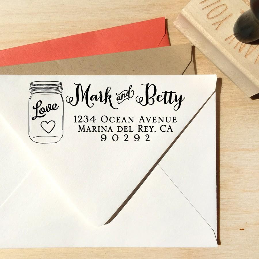 Mason Jar Address Stamp With A Curly Calligraphy Script Font