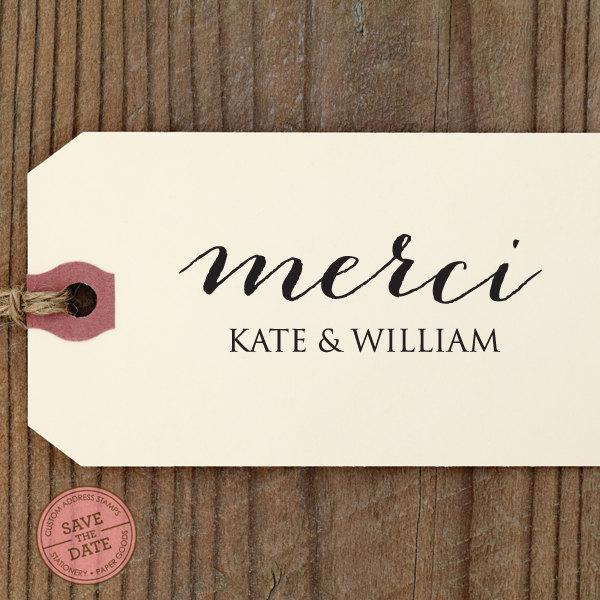 "Mariage - Merci Thank You CUSTOM STAMP for Thank You Tag, diy wedding, favor gift tag, thank you card, wedding favors, personalized stamper ""Merci"""