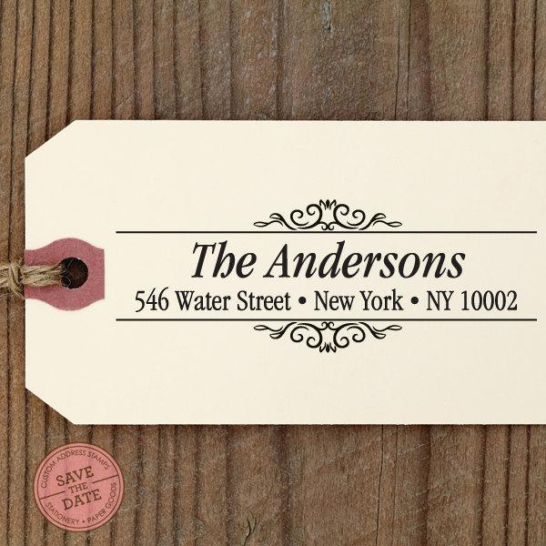 Mariage - CUSTOM ADDRESS STAMP with proof from usa, Eco Friendly Self-Inking stamp, rsvp address stamp, custom stamp, custom address stamp Border19
