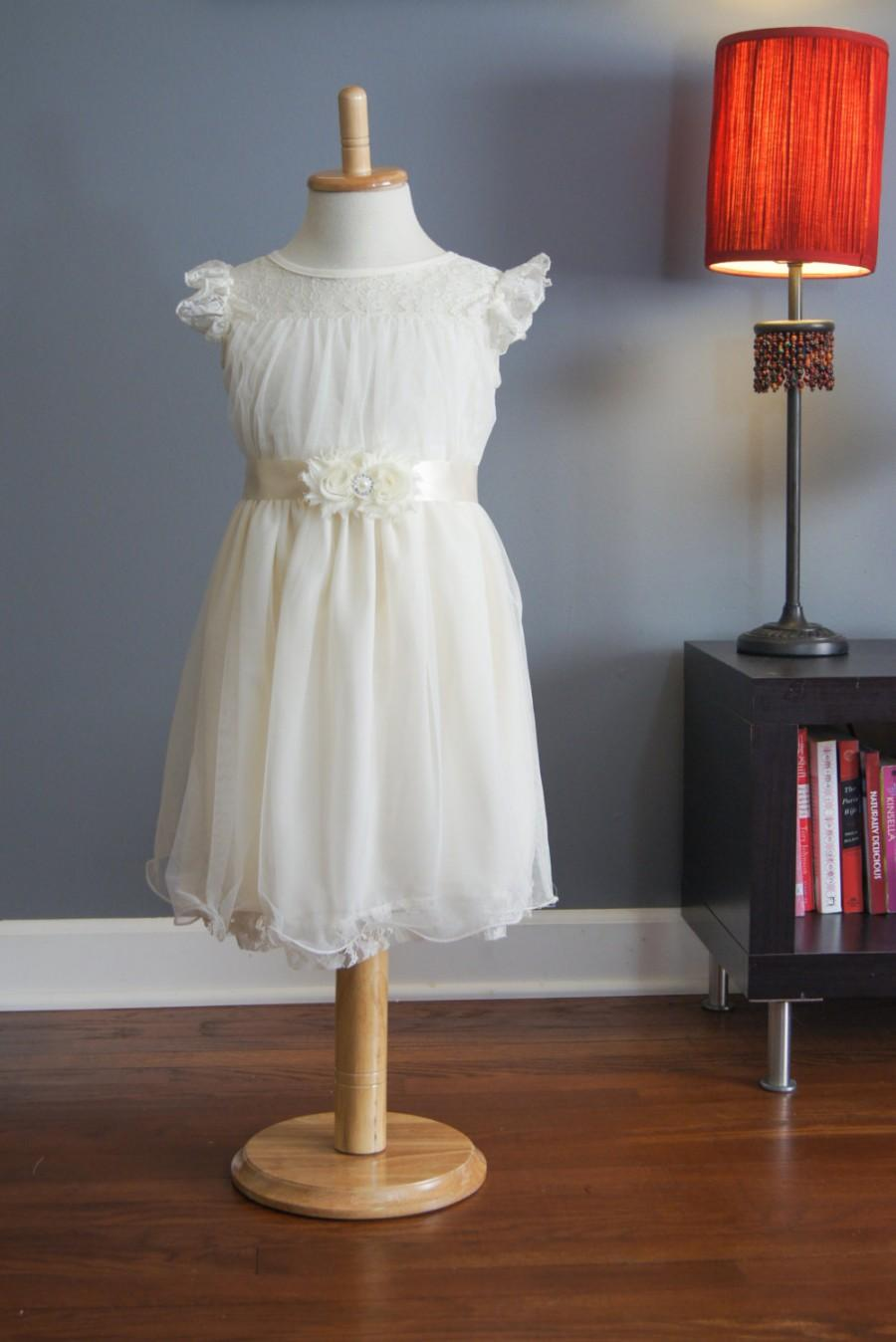 Wedding - Ariana Ivory Flower girl Dress Girls Dress Toddler Dress lace Dress With Satin Ribbon Sash