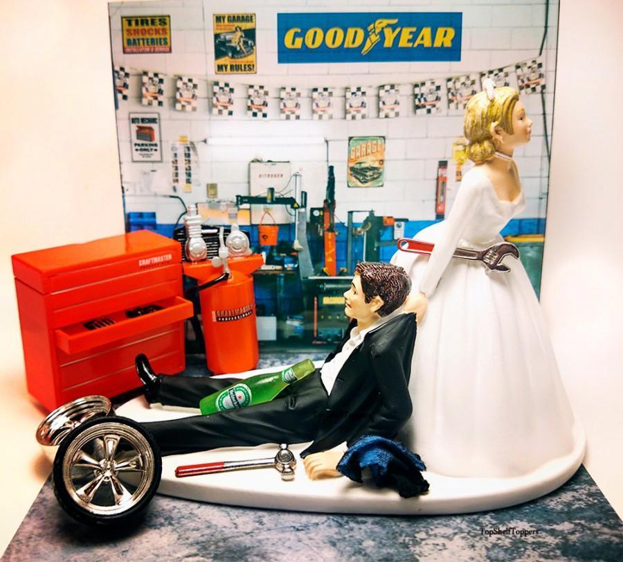 Mariage - Funny Mechanic Wedding Cake Topper