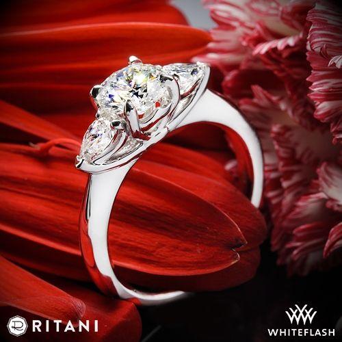 Mariage - 18k White Gold Ritani 1RZ1010P Three Stone Engagement Ring