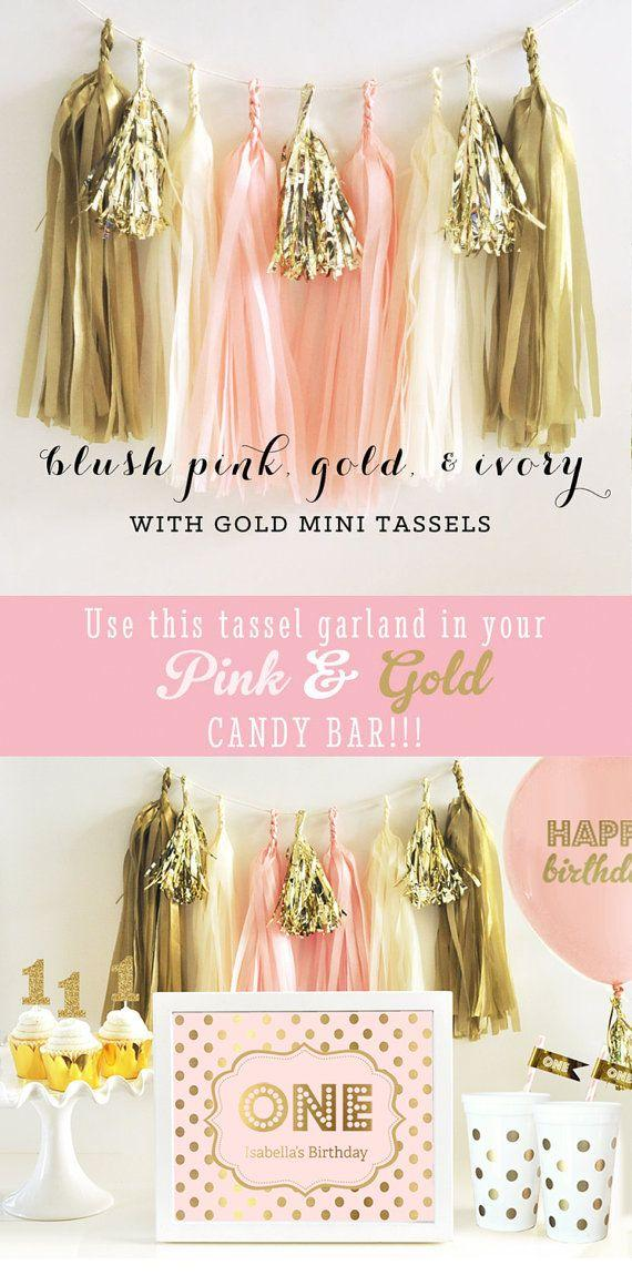 Свадьба - Pink And Gold Tassel Garland - Pink Tissue Garland - Pink And Gold Garland - Pink And Gold Tassle Garland - DIY Tassel Garland Kit (EB3086)